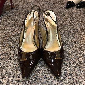 BCBGIRLS Chocolate Brown Belt Patent Leather Heels
